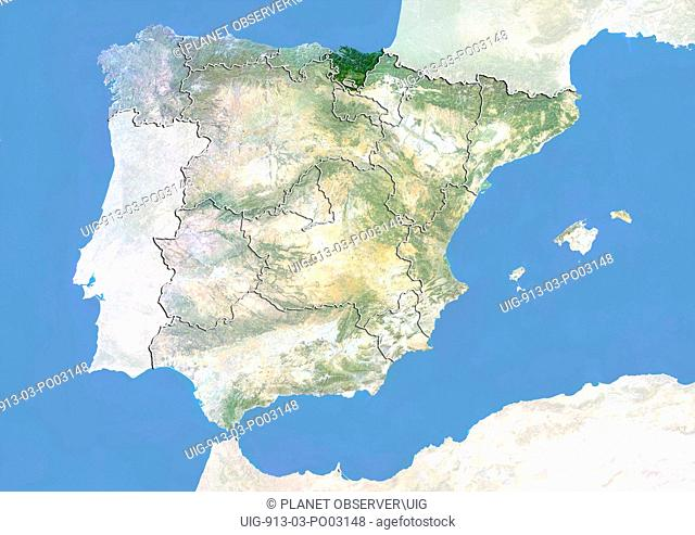 Satellite view of Spain with bump effect, showing the Basque Country. This image was compiled from data acquired by LANDSAT 5 & 7 satellites combined with...