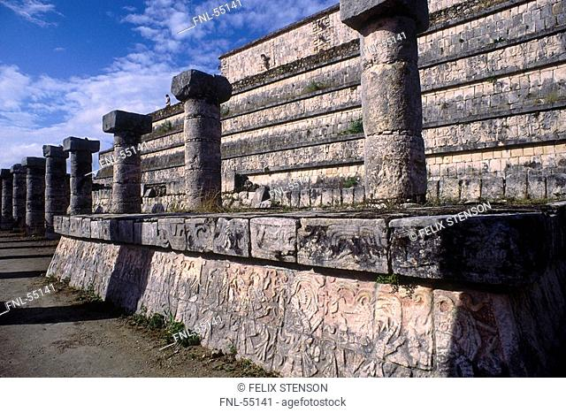 Ruins of columns at archaeological site, Temple Of Warriors, Thousand Columns, Chichen Itza, Yucatan, Mexico