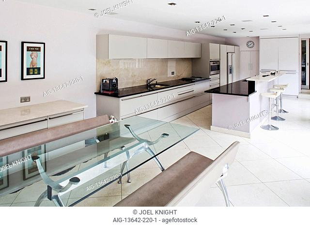 Modern kitchen with dining area, London