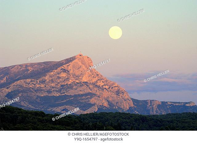 Full Moon or Moon Rise over Montagne Sainte-Victoire or Mont Sainte-Victoire near Aix-en-Provence or Aix en Provence France