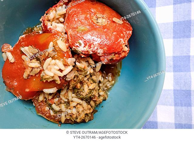 Classic Greek Cuisine. Stuffed Tomato with Rice