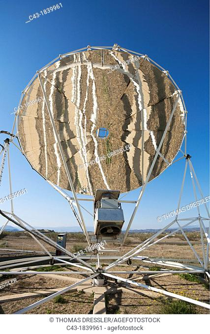 Reflections in the mirror of a so-called Stirling dish while it is set up to generate energy at one of Europe's biggest solar energy fields in the Tabernas...