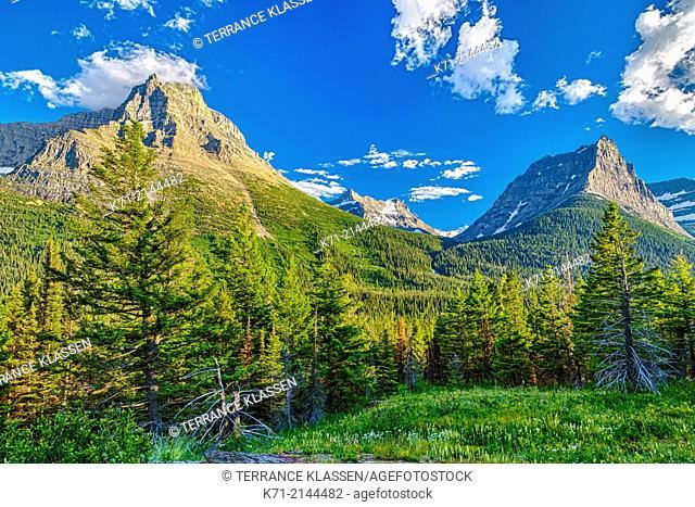 Alpine scenery near St. Mary Lake in Glacier National Park, Montana, USA