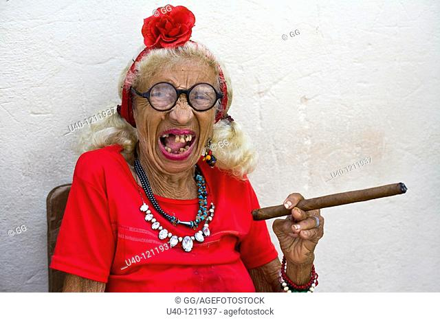 Cuba, Old woman smoking cigar