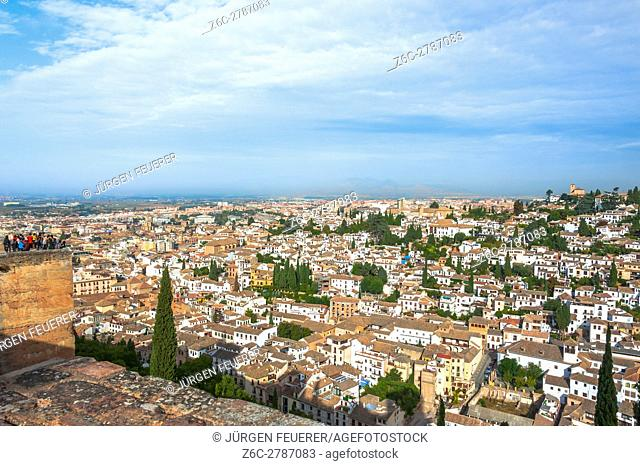 panorama view of Granada and the Albayzin from the Alcazaba, Alhambra in Granada, Andalusia, Spain