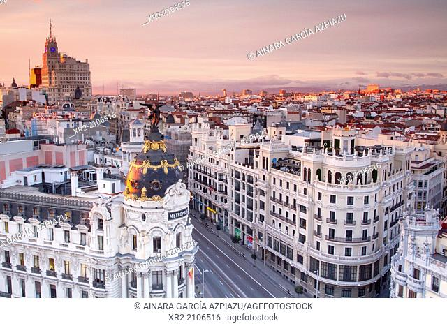 Aerial view of Metropolis building in Gran Vía, and panoramic view of Madrid, Spain