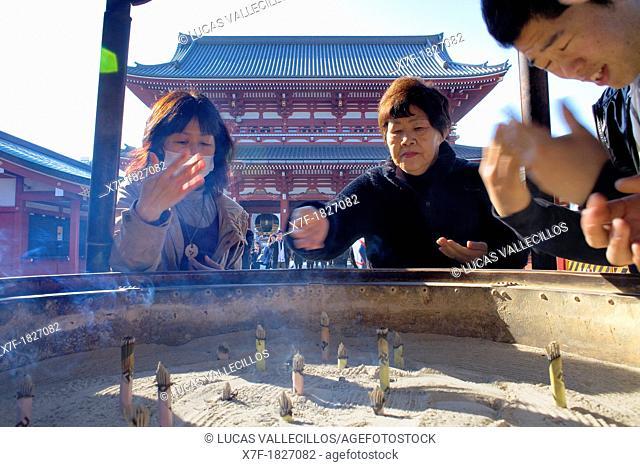 Senso-ji Temple, people burning incense ,Asakusa district,Tokyo, Japan, Asia