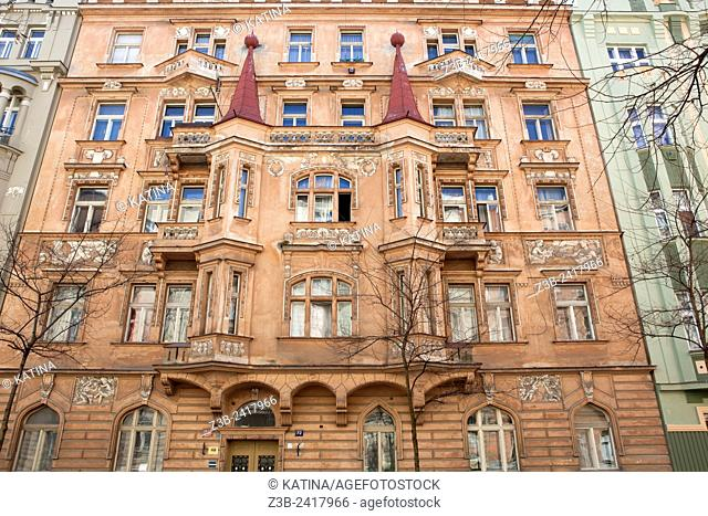 Art Nouveau architecture in the elegant residential district of Vinohrady in Prague, Czech Republic, Europe