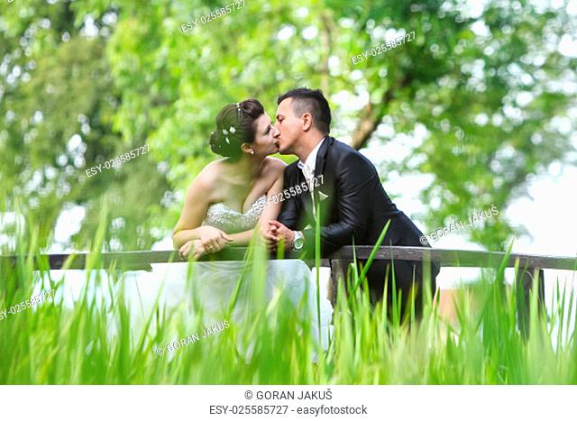 The bride and groom standing on a wooden bridge in nature, leaning on the fence and kissing