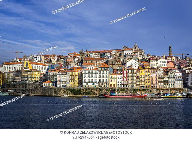 Porto city buildings of Ribeira district seen from Vila Nova de Gaia, Portugal