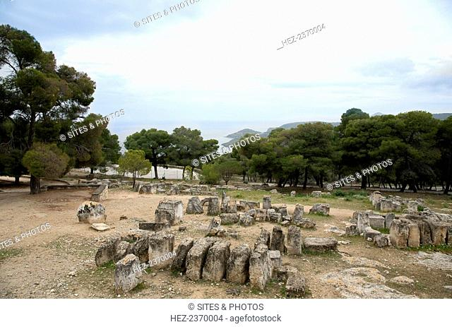 The Temple of Aphaea, Aegina, Greece. The Temple of Aphaea was built on the foundations of an earlier 6th century BC temple