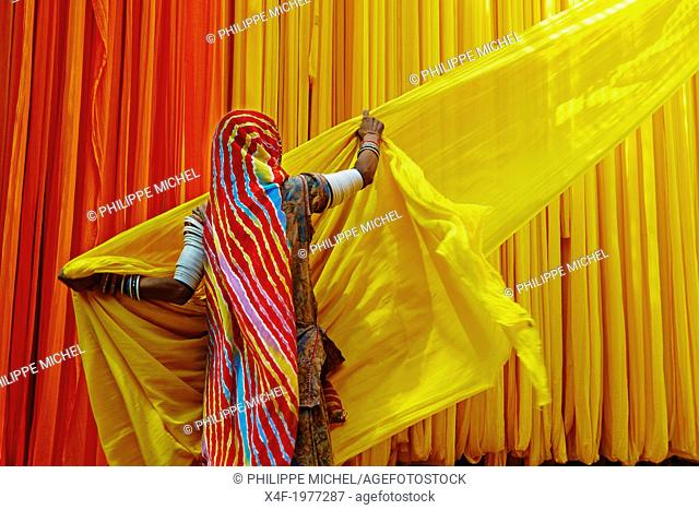 India, Rajasthan, Sari Factory, Lesmay, 40 old. Textile are dried in the open air. Collecting of dry textile are folded by women and children