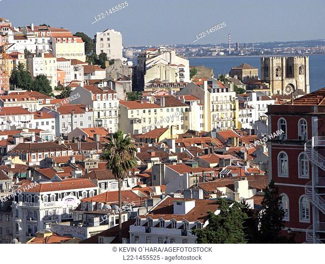 Overview from the Chiado, City of Lisbon, Portugal