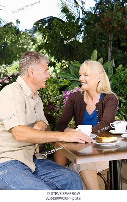 Mature couple in cafe