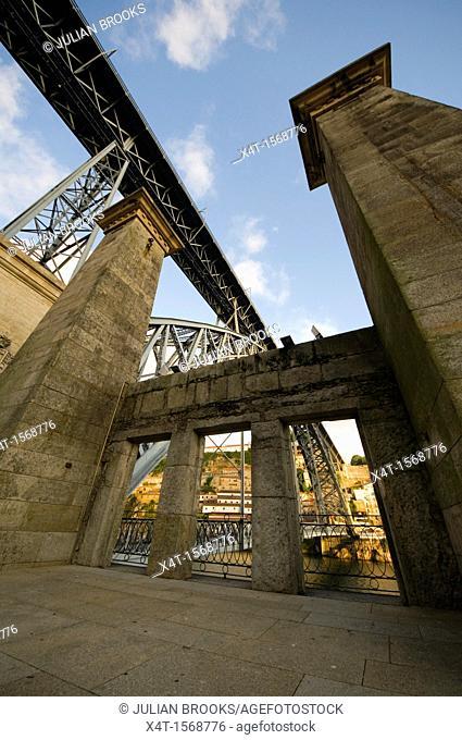Ponte Dom Luis, Bridge in Porto, Portugal - Extreme wide angle, seen through portals of old bridge