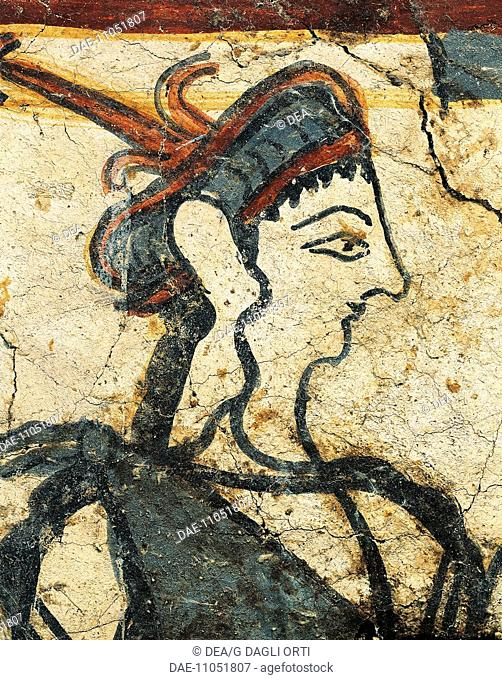 Greek civilization. Detail of fresco depicting a woman holding twigs. From a house in the acropolis of Mycenae, Greece.  Nauplia