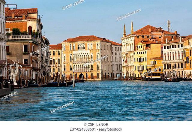 Venice, houses on piles built lengthways the Grand Canal