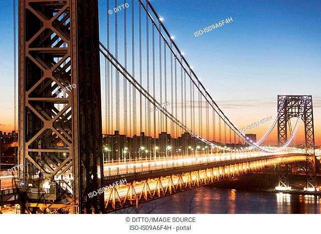 George Washington Bridge at sunset, New York City, USA