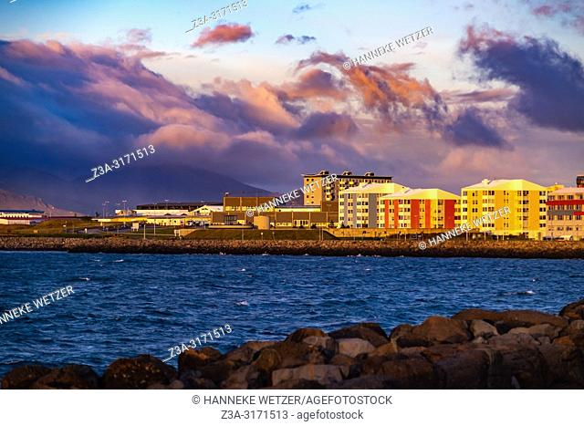 Coastline of Reykjavik with a view on modern architecture, Iceland
