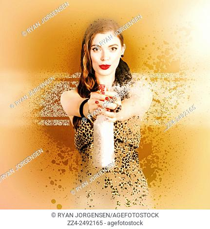 Funny photo of a armed cleaning pin up woman preparing to shoot away stains when aiming with a bottle of liquid detergent