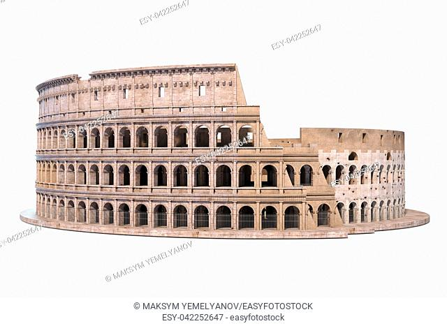 Coliseum, Colosseum isolated on white. Architectural and historic symbol of Rome and Italy, 3d illustration