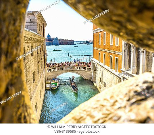 View from Bridge of Sighs Gondola Touirists Grand Canal Venice Italy Last view of prisoner to Venice prison. Bridge between Doge's Palace and Prison