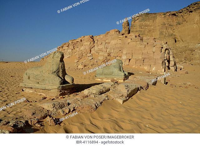 Aries Sphinx of Amun temple at the foot of Jebel Barkal, Karima, State of ash-Schamaliyya, Nubia, Sudan