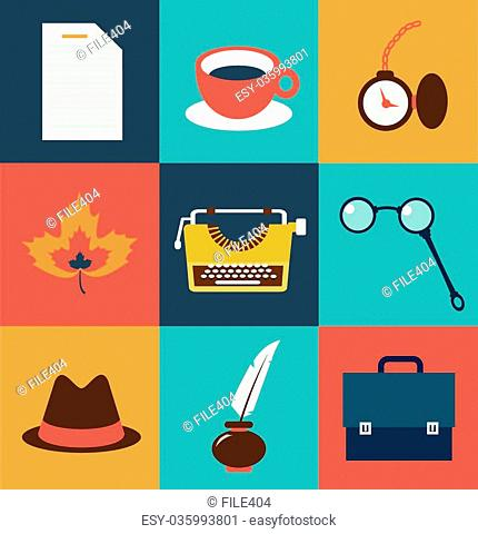 operating items typists, typewriter, glasses, cup of tea, a piece of paper, hat, inkwell, pen, lamps, clocks illustration