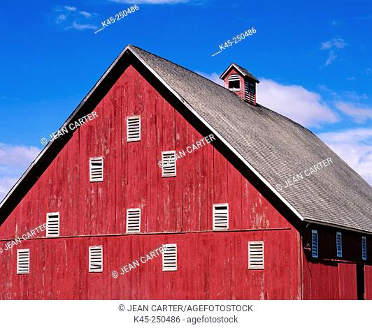 Historic old red barn in Grant County. Eastern Oregon. USA