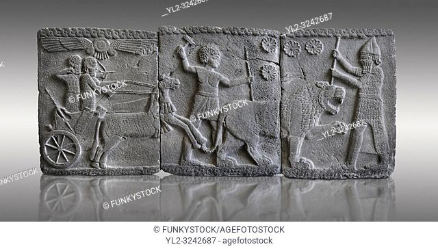 Relief panels depicting a lion hunt found in the palace district in the ruins of Coba Hoyuk, also known as Sakçe Gözü or Sakcagozu