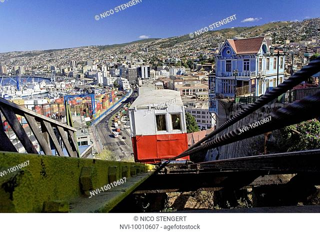 San Agustin funicular railway in Valparaiso, Chile, South America
