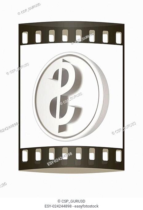 Metall coin with dollar sign. The film strip