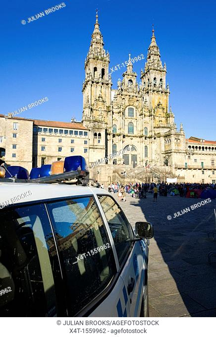 A police car in Santiago De Compostela during a political rally in front of the cathedral