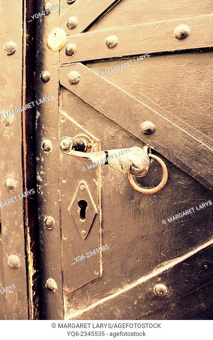Old medieval metal door close up