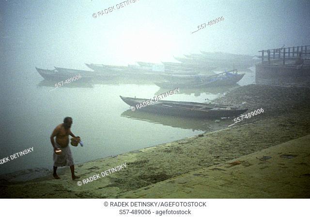 Ghats. Ganges River. Varanasi. India. Asia