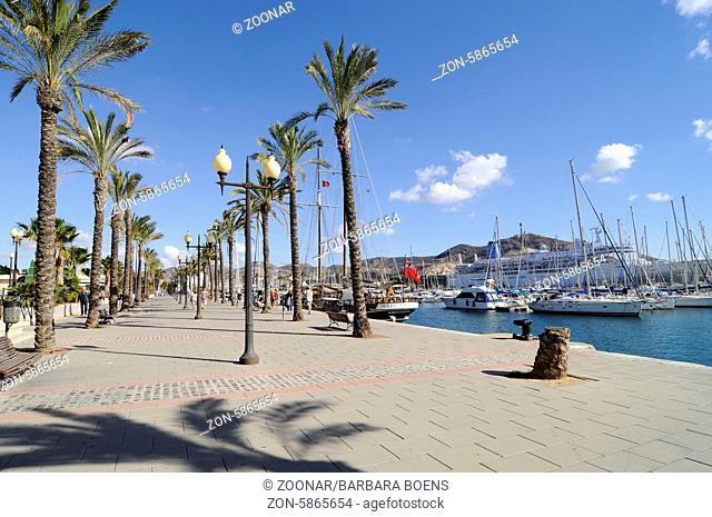 Promenade, harbour, Cartagena, Murcia Region, Spain, Europe, Promenade, Hafen, Cartagena, Region Murcia, Spanien, Europa