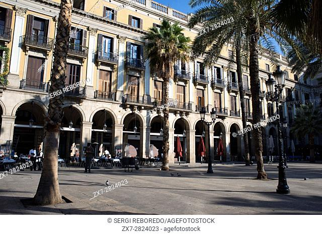 Plaza Real or Plaza Real, Barrio Gotico, Barcelona, Catalonia, Spain