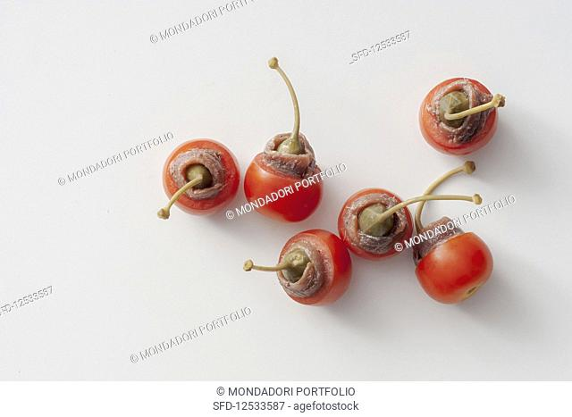 Cherry tomatoes with a caper and anchovy filling