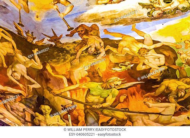 Devils Last Judgment Giorgio Vasari Fresco Dome Duomo Cathedral Santa Maria del Fiore Church Florence Italy