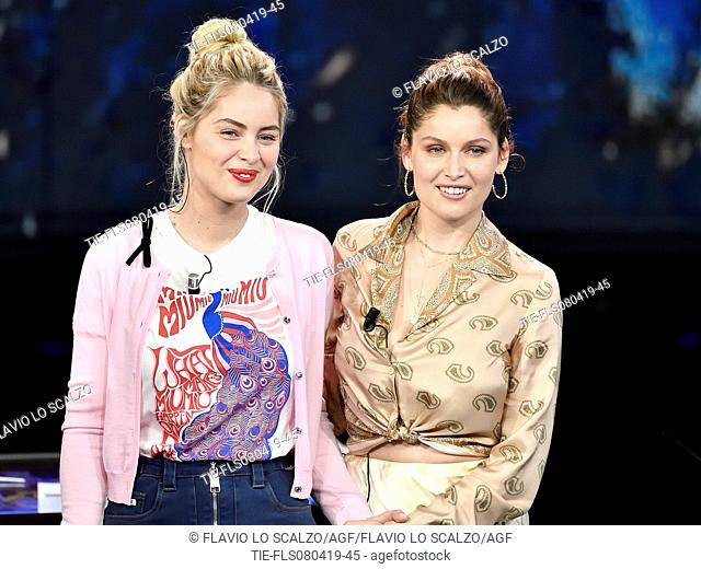 Marie Ange Casta, Laetitia Casta during the tv show Che tempo che fa, Milan, ITALY-07-04-2019