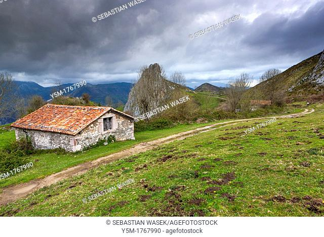View near Carbes, looking out of the Picos de Europa park to the west, Asturias, Spain