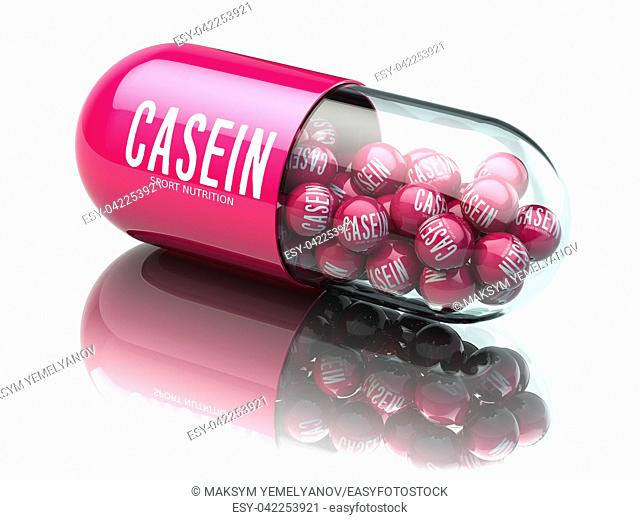 Casein capsiule isolated on white background. Sport nutrition and supplement for bodybuilding concept. 3d illustration
