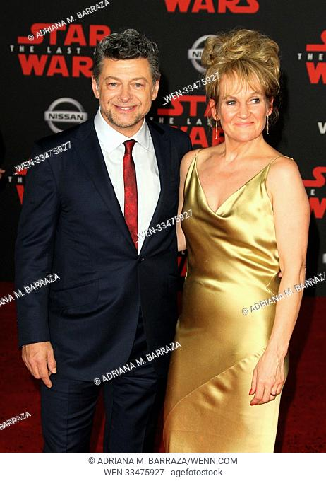 """Star Wars: The Last Jedi"" Premiere held at the Shrine Auditorium in Los Angeles, California. Featuring: Andy Serkis, wife Lorraine Ashbourne Where: Los Angeles"