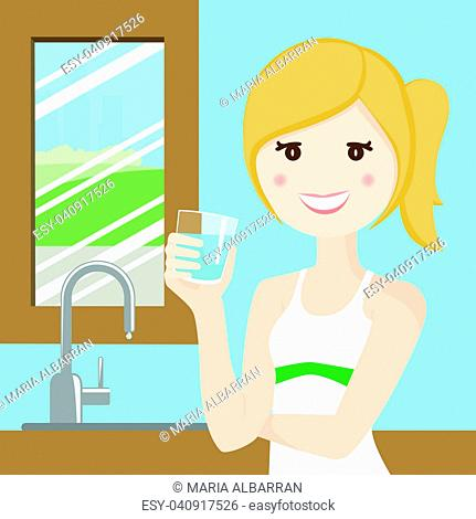 Woman drinking water after playing sport