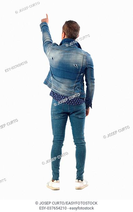 man dressed with blue jeans isolated on white background