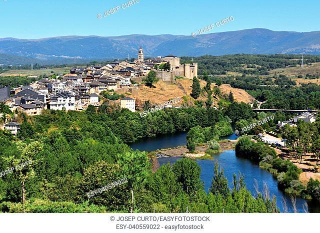 Elevated view of the medieval town of Puebla de Sanabria and the river Tera, Zamora province, Castilla-Leon, Spain