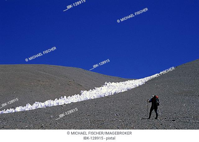 Female climber and penitentes field during an ascent of Cerro Bonete Mendoza Argentina