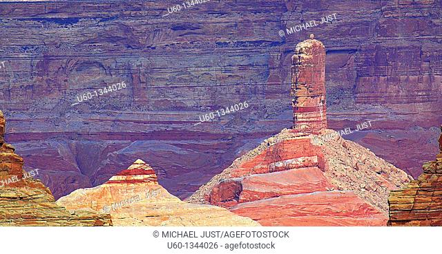 Unusual sandstone rock formations mark the landscape at Lake Powell, Arizona