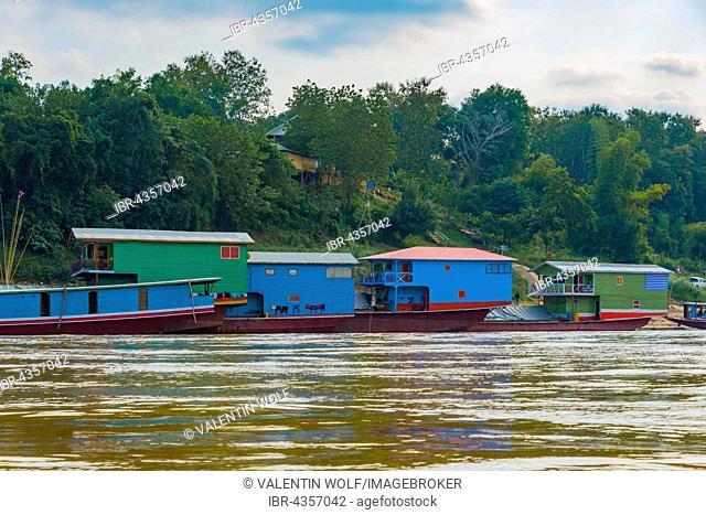Houseboats on the Mekong, Luang Prabang Province, Louangphabang Province, Laos
