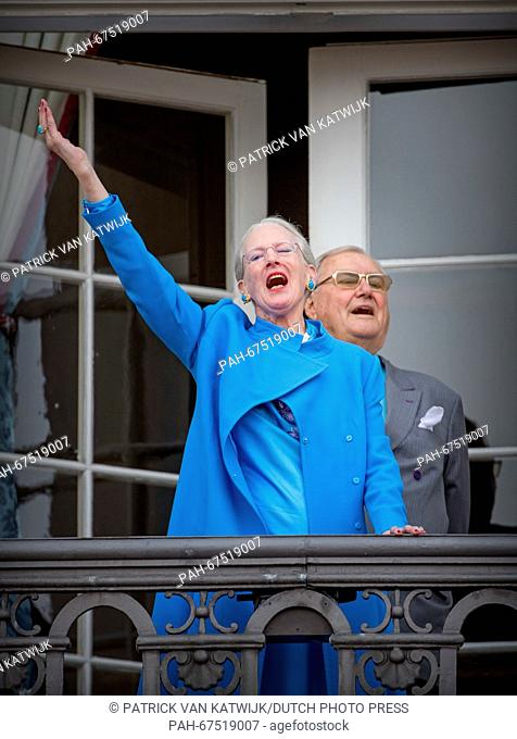 Queen Margrethe and Prince Henrik of Denmark during the 76th birthday celebration of Queen Margrethe at the balcony of Amalienborg Palace, Denmark